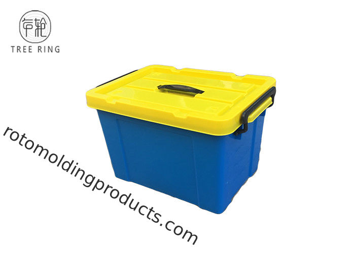 Rectangular Nesting Virgin PP Plastic Storage Box 50L With Locaked Lid 40*29*24 Cm